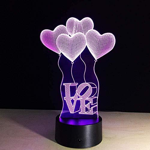 3D LED Luz de noche,3D illusion lamp, Lámpara de ilusión 16 colores Lámpara de decoración Cambio 3D Ilusión óptica Lámpara, Globo de corazón de amor colorido