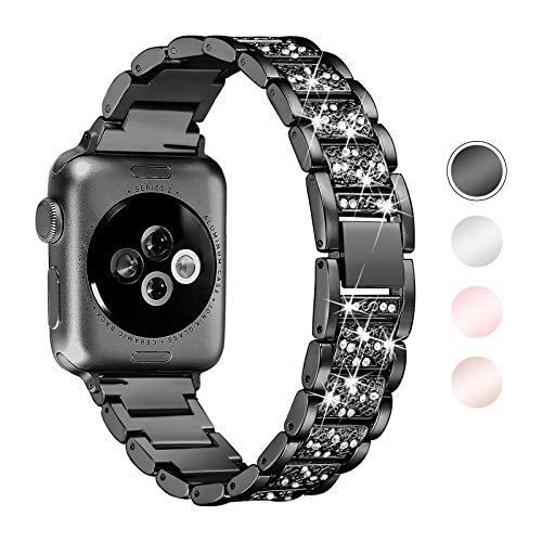 Aottom Correa Compatible con Correa Apple Watch SE/6/5/4/3/2/1, Correa 42mm 44mm, Correa de Acero Inoxidable, Correa Mujer para Diamand, Pulsera Ajustable, Correa de Repuesto Band para Apple Watch