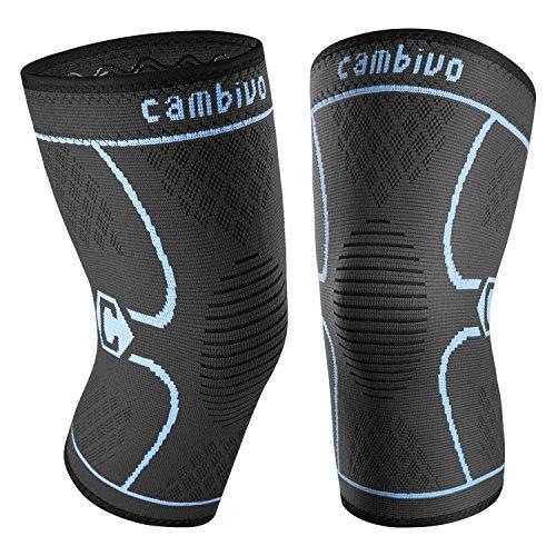 CAMBIVO 2 x Kniebandage Damen und Herren, Knieschoner, Kniestützer für Laufen, Wandern, Joggen, Sport, Volleyball, Crossfit (M, Schwarz/Blau)
