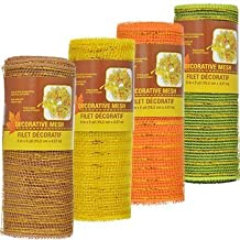 Autumn Fall Harvest Thanksgiving (Bonus Exclusive SD HOLIDAPPY Clips) Deco Decorations Wreaths Centerpieces Displays Tables Decorative Mesh Roll ~ 4 Rolls (5 yds. Each)