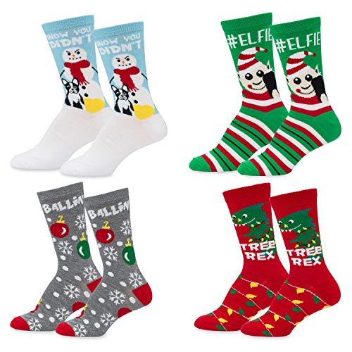 Mens & Womens Fun Novelty Holiday Christmas Hanukkah Socks- One Size Fits Most-Christmas 4 PK Crews-#Elfie/Tree Rex/Ballin/Snow You Didn't
