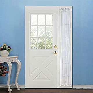 RHF Voile French Door Curtains/Panel 30W by 72L Inches-White