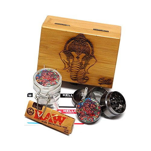 "Cali Factory Elephant Laser Etched Sacred Geometry Stash Box, 1.6"" Zinc Alloy Grinder, Small Stash Jar - All in ONE Box Package Item# WBCS111617-4"