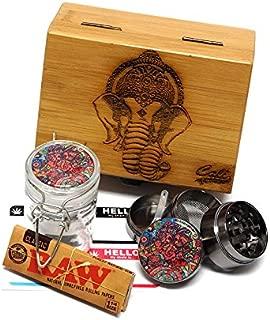 Elephant Laser Etched Sacred Geometry Stash Box, 1.6