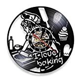 BBZZL Me Encanta cocinar Reloj de Pared decoración Postre Pastel Rodillo Huevo pastelero Chef diseño Retro Reloj de Pared led decoración de la Cocina Sin LED