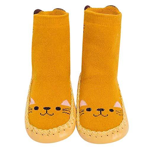 Huhu833 Baby Socken, Kinder Kleinkind Socken Baby Jungen Mädchen Cartoon Tiere Anti-Slip Gestrickte Warme Socken Boden Socken (Gelb, 6-12 Monate)
