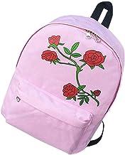 VHVCX Weibliche Rucksack-Rosen-Blumen-Adrette Art Mädchen-Segeltuch-Rucksack-Frauen Taschen Reise Schulranzen Für Jugendliche Mochila Feminina