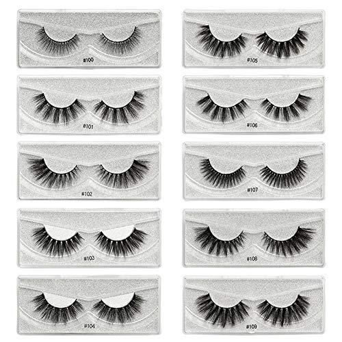 Peyan 10 pairs False Eyelashes, 3D All-size individual eyelashes mink Natural Dramatic Handmade Fluffy Fake Eyelashes