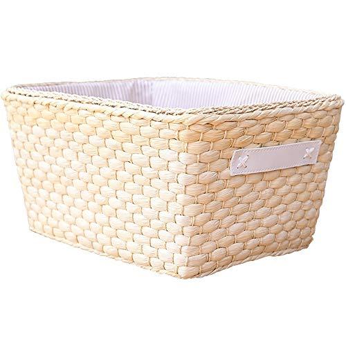 ZZHF xiyilan Panier de rangement, boîte de rangement de table de rangement de table de bureau de table de bureau de peau de maïs de maïs avec boîte de rangement de poignée Panier de rangement
