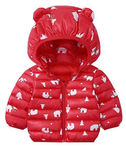 DEMU winterjas baby berenoren capuchon jas gewatteerde mantel sneeuwpakken capuchon mantel 100 rood