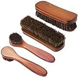KEESIN Cepillos para pulir zapatos con cerdas de crin de madera para el cuidado de los zapatos (4...