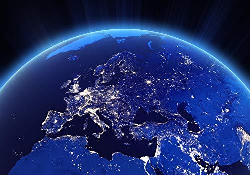 wandmotiv24 Fototapete Europa Erde Nacht, XL 350 x 245 cm - 7 Teile, Fototapeten, Wandbild, Motivtapeten, Vlies-Tapeten, Universum, Welt, Stadt M1450