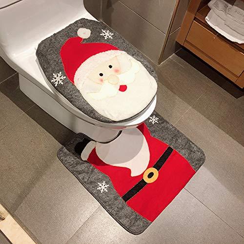 Pertaka 2pcs Copriwater e Copri Serbatoio di Natale, Set WC Natale Copriwater Copri Serbatoio Tappettino Tema Babbo Natale Pupazzo Elk (Santa Claus)