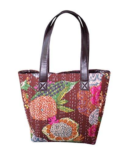 silkroude Frau Schultertasche knatha massanger Handtasche Einkaufstasche aus Baumwolle Braun Fashion Bag