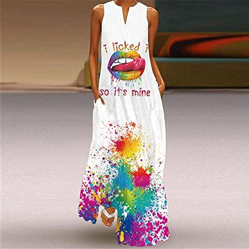 Mujeres Suelto Vestido,Vestido De Mujer Labios Atractivos Con Salpicaduras De Colores Impresión 3D Escote En V Blanco Sin Mangas Vestido Maxi Bolsillo Falda Oscilante De Gran Tamaño Informal Fiest
