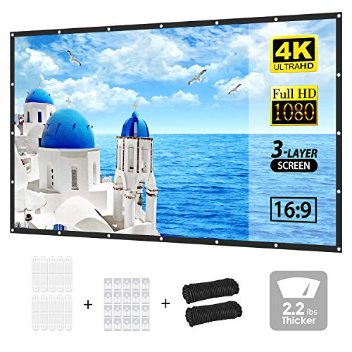 PVO Projector Screen, 3-Layer Movie Screen pro, 120 inch 16:9 HD Portable Projection Screen, Foldable Indoor Outdoor Waterproof Projector Movies Screen for Home Theater Backyard Cinema Travel