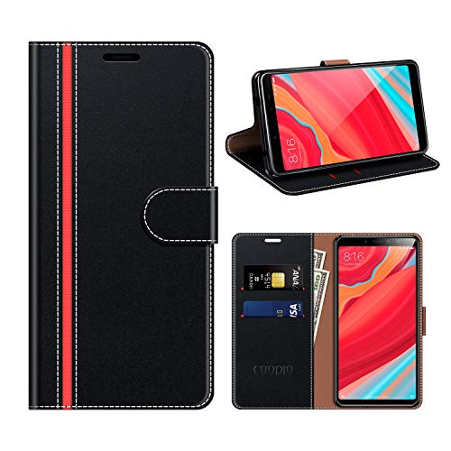 COODIO Xiaomi Redmi S2 Hülle Leder, Xiaomi Redmi S2 Kapphülle Tasche Leder Flip Cover Schutzhülle Rugged für Xiaomi Redmi S2 Handyhülle, Schwarz/Rot