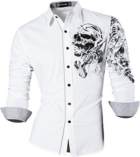 Sportrendy Herren Freizeit Hemden Slim Button Down Long Sleeves Dress Shirts Tops JZS042 White S