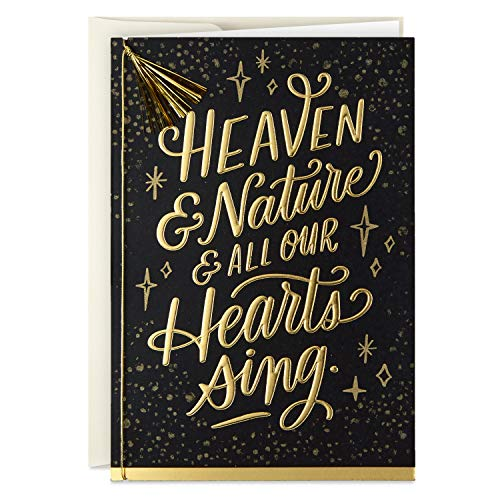 Hallmark Boxed Religious Christmas Cards, Heaven and Nature Sing (12 Cards and 13 Envelopes), Black & Gold (5XPX9456)