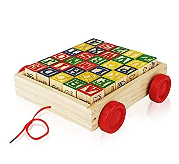 Wooden Alphabet Blocks Best Wagon ABC Wooden Block Letters Come in a Pull Wagon for Easy Storage and Movement Most Entertaining Wooden Toy for Toddlers 30 Pieces Set.