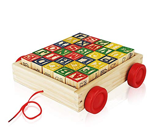 Wooden Alphabet Blocks Best Wagon ABC Wooden Block Letters Come in a Pull Wagon for Easy Storage and Movement Most Entertaining Wooden Toy for Toddlers 30 Pieces Set