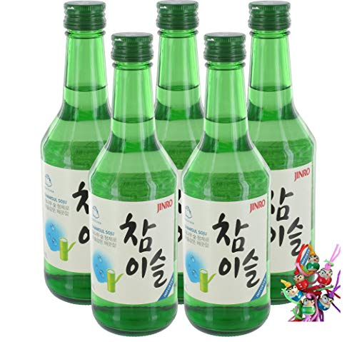 yoaxia ® - 5er Pack - [ 5x 350ml ] HITEJINRO Soju Jinro Chamisul Fresh / Spirituose Alc. 17,2% vol. + ein kleines Glückspüppchen - Holzpüppchen