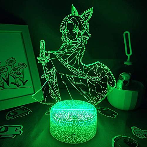 Hermoso regalo para niño, 3D LED RGB NightLight Lámpara de lava Anime Demon Slayer Figura Kocho Kanae Regalo para Amigos Dormitorio Mesa Manga Decoración Kimetsu No Yaiba