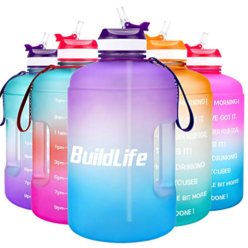 BuildLife 2.2L Motivational Water Bottle Wide Mouth with Straw & Time Marked to Drink More Daily,BPA Free Reusable Gym Sports Outdoor (Purple/Blue Gradient, 2.2L)