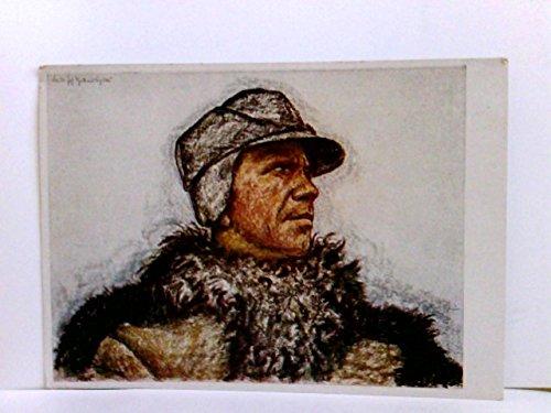 """Künstler AK \""""Vom Grossen Treck\"""", Otto Engelhardt-Kyffhäuser : Bauer Johann Schick. Portrait, Mann mit Felljacke und Kappe. Volksbund Deutschtum im Ausland"""