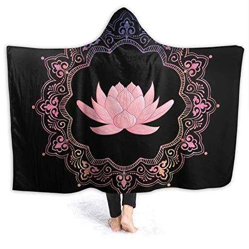 DPQZ Manta con capucha rosa Lotus Mandala Yoga meditación súper suave franela polar mantas para sofá silla cama oficina viajes camping 80 x 60 pulgadas