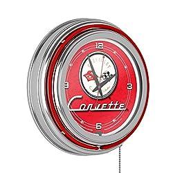 Corvette C1 Neon Clock - 14 inch Diameter - Red