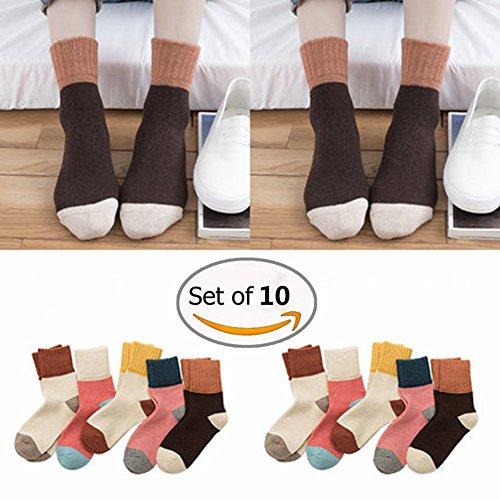 Knöchel Socken, Morbuy 10Paar Comfort Atmungsaktiv Dame Knöchel Kaninchen Streifen Socken Jeden Tag Weihnachten (E)
