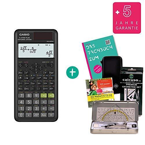 Streberpaket: Casio FX-87DE Plus 2 (2nd Edition) + Schutztasche + Lern-CD + Geometrie-Set + Erweiterte Garantie + Fachbuch