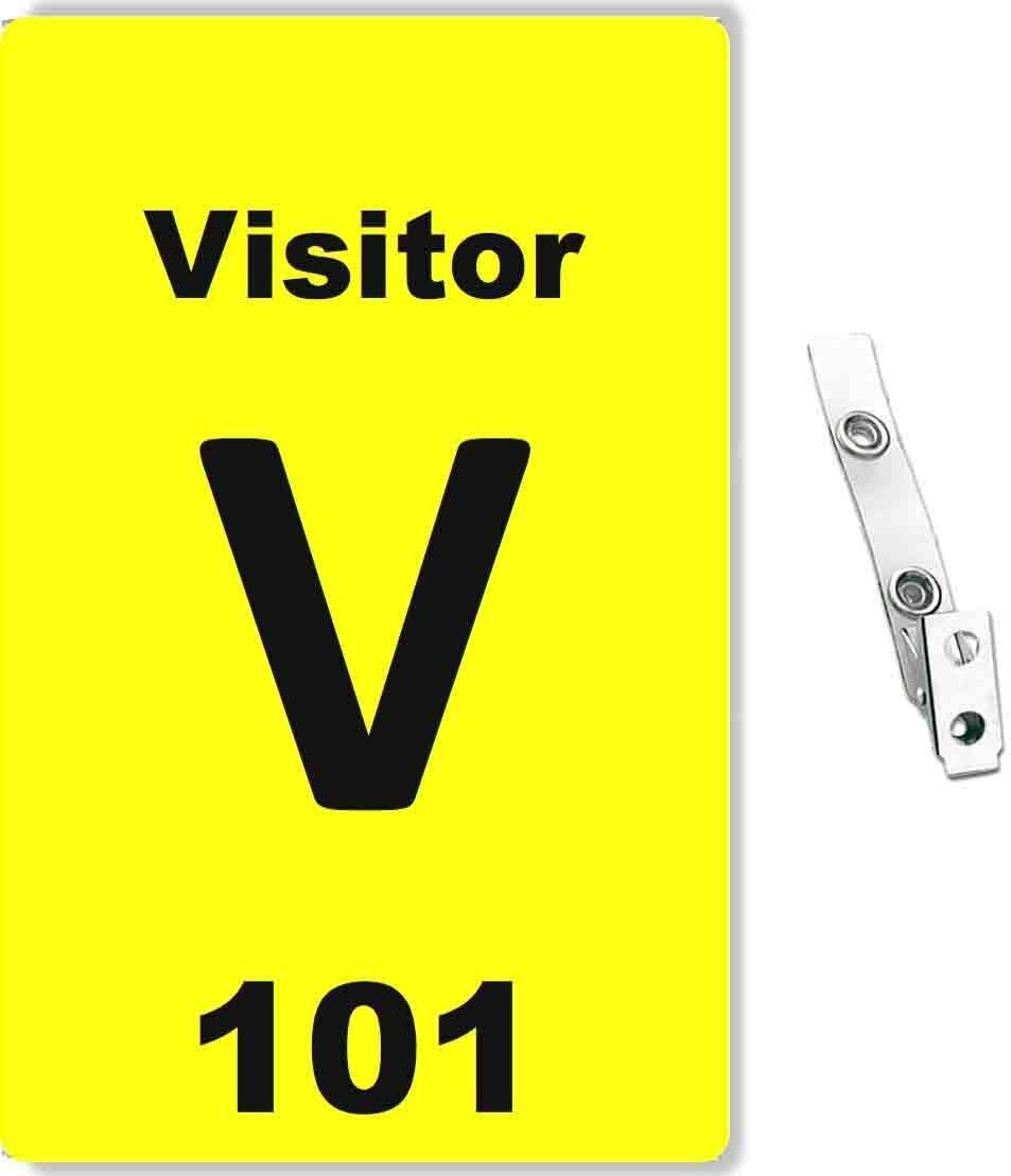 Blue 10 Pcs Pack Numbered Visitor ID Badge and Clear Vinyl Strap Clip with 2-Hole
