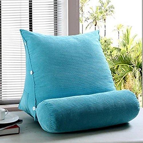 FLHSLY Dreieck Kissen Multifunktionale Rückenlehne Taille Stützkissen Lesen Kissen Sofa Kissen Nachttisch Rücken Keil Corn Flanell Stoff, Blue, 45 * 45 * 22cm