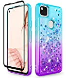 Dzxouui for Pixel 4A Case Glass Screen Protector(Not Fit 4A 5G) TPU Clear Cover Girls Women Moving Quicksand Glitter Bling Cute Phone Cases for Google Pixel 4A 4G(Teal/Purple)