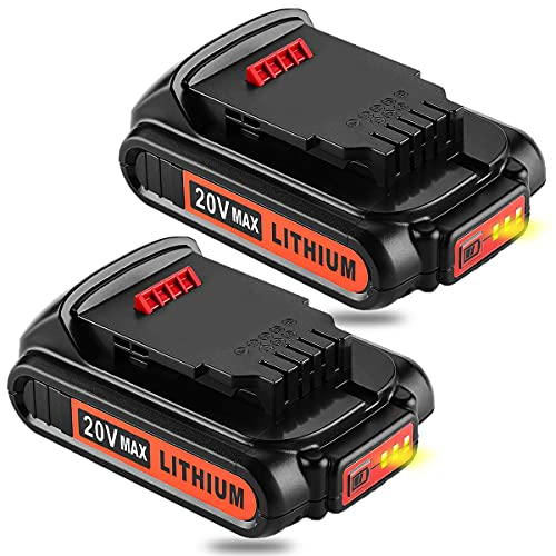 2 Pack 3.0Ah DCB201 Replacement for Lithium Ion Battery Compatible with Dewalt 20V Battery DCB200 DCB201 DCB202 DCB203 DCB204 DCB206 DCB207 DCB230 DCB180 DCD DCF DCG Series 20 Volt Batteries