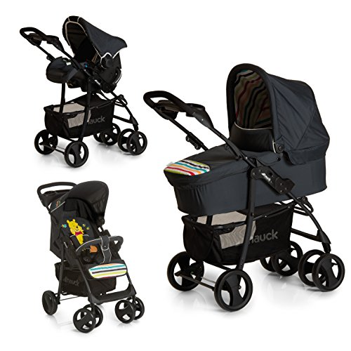 Hauck Shopper SLX Trio Set 3 in 1 Kinderwagen bis 25 kg + Babyschale + Babywanne mit Matratze ab Geburt, Buggy mit Liegefunktion, Getränkehalter, leicht, klein faltbar, pooh tidy time