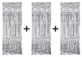 3 x Big/Large 3ft x 8ft Silver Fringe Foil Curtain party tassel (You will receive 3 curtains)