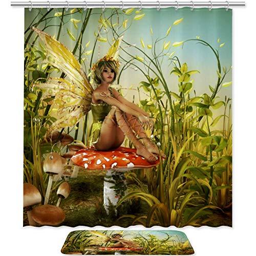 Haminaya Feen-Mädchen-Pilz Duschvorhang Anti-Schimmel & Wasserabweisend Shower Curtain mit 12 Duschvorhangringen 3D Digitaldruck 180x180cm/50x80cm