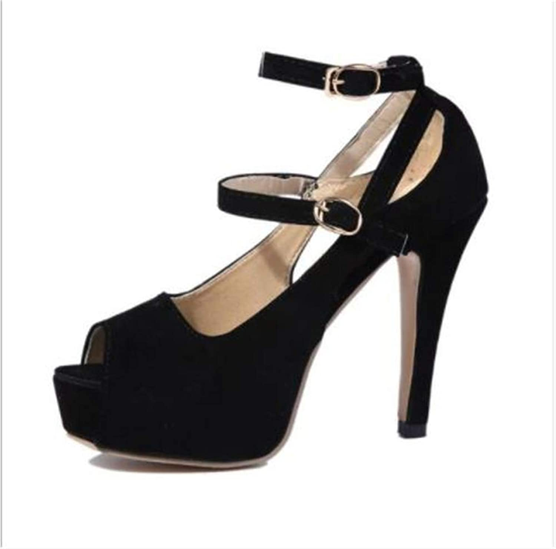 FLourishing Women's Double Ankle Strap Peep-Toe Platform Stiletto High Heel Dress Sandals, Open Toe Strappy Buckle Sandal Pump