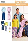 Simplicity Easy To Sew Children's, Men's and Women's Pajamas Sewing Pattern, Child Sizes XS-L and Adult Sizes...