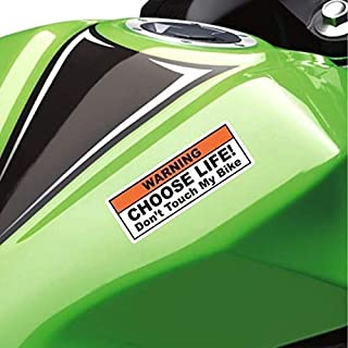 (2X) Funny Warning Sticker Label Vinyl Decal - Choose Life Don't Touch My Bike - Fits Cruiser, Sport, Street Motorcycle Ta...