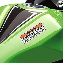 (2X) Funny Warning Sticker Label Vinyl Decal - Choose Life Don't Touch My Bike - Fits Cruiser, Sport, Street Motorcycle Tank Fender Dirt Bike