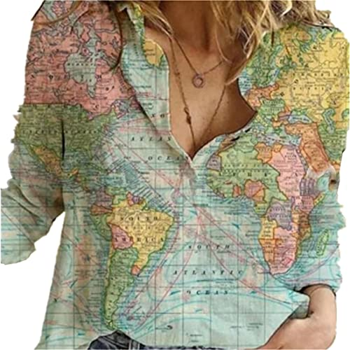 FRMUIC Women's Lapel Button Shirt World Map Print Long Sleeve Loose Casual Top (Medium, Green)
