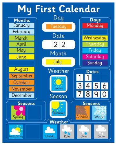 Indigo Worldwide - Calendario magnético para aprender inglés, color azul Pizarra rígida de 40 x 32 cm con sistema de suspensión.