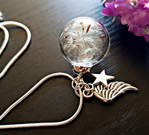 Ala del ángel Collar de diente de león Cadena de plata esterlina Caja de regalo - Estrella colgante joyería de simpatía regalo de duelo para mujeres joyería del día de la madre