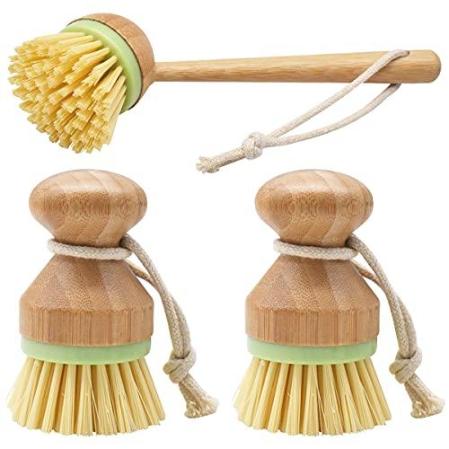 Cepillos de Bambú Fregar,DBAILY 3Pcs Cepillos para Fregar Platos de Bambú Redondo para Sartén de Hierro Fundido Fregadero de Cocina Baño Limpieza Doméstica