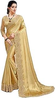 Designer Shimmer Satin Georgette Sequin Border & Blouse Saree Indian Festival Muslim Woman Sari 5324