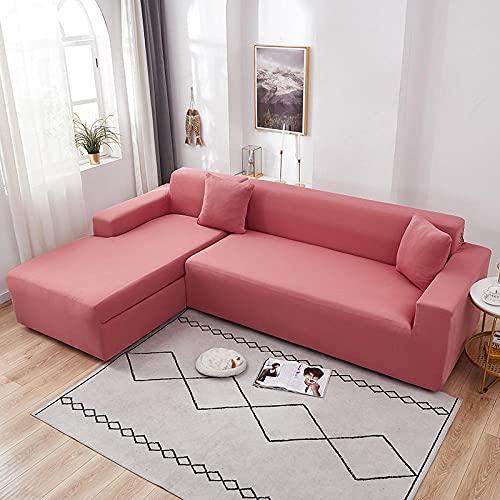 Funda Sofas 2 y 3 Plazas Rosa Fundas para Sofa con Diseño Elegante Universal,Cubre Sofa Ajustables,Fundas Sofa Elasticas,Funda de Sofa Chaise Longue,Protector Cubierta para Sofá